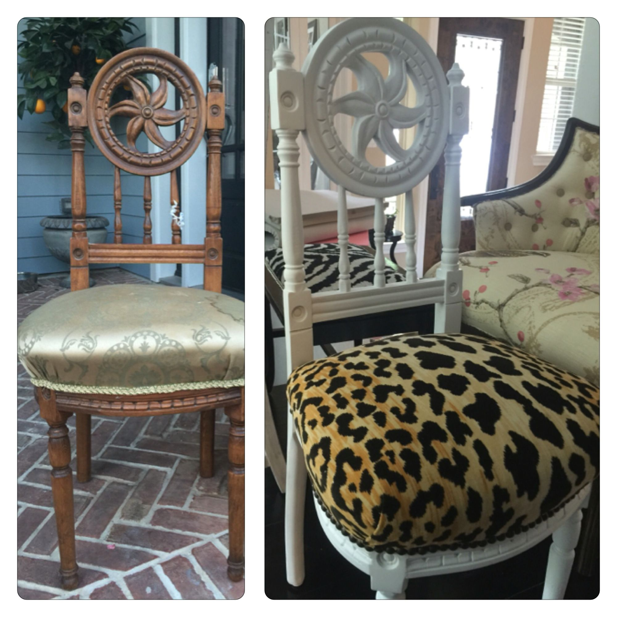 Chair antique queen anne chair the buzz on antiques antique chairs 101 - Vintage Chair Redo Chair Makeover Leopard Fabric And White Wood