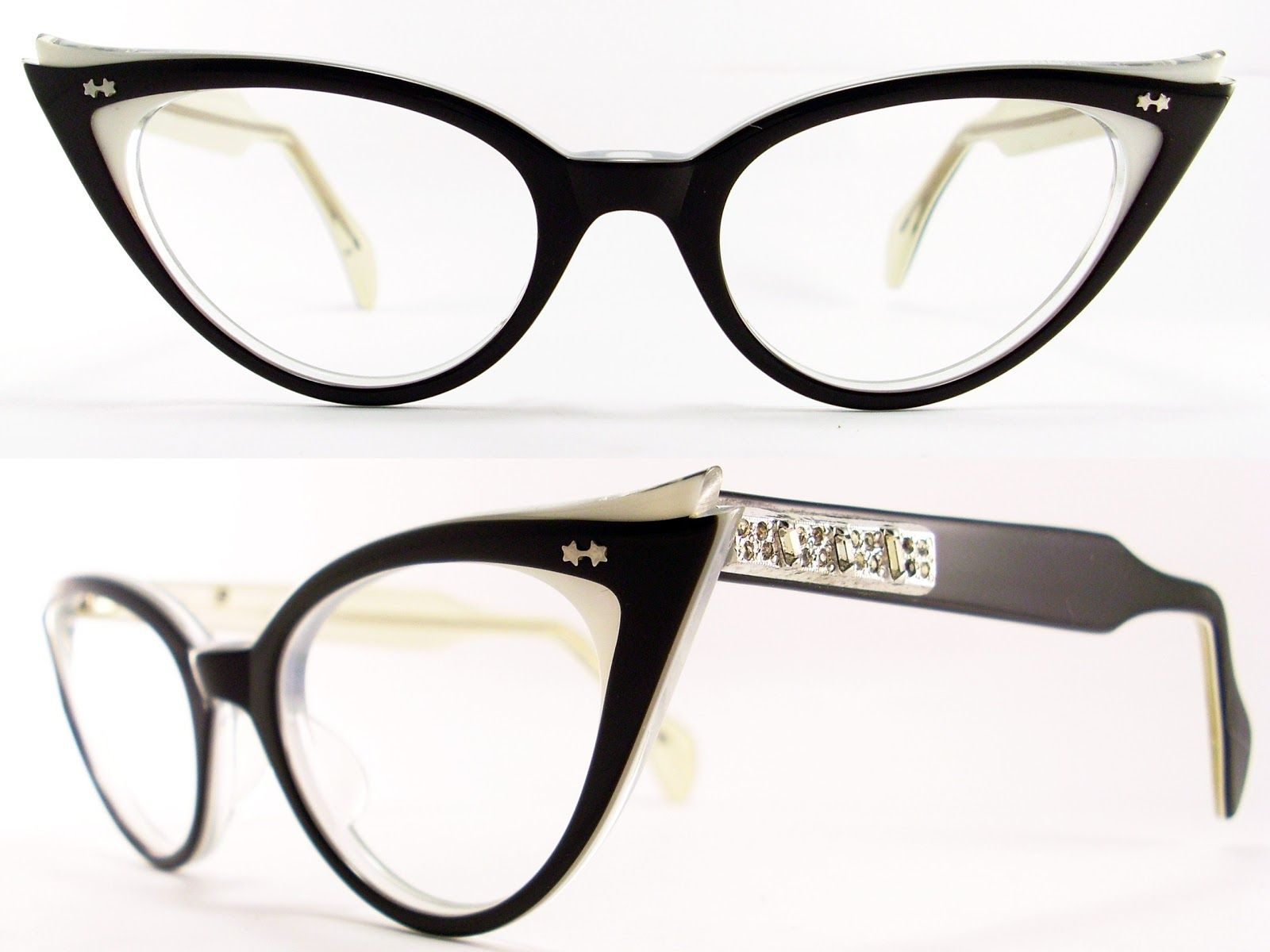 VINTAGE CAT EYE GLASSES FRAME IN VERY GOOD VINTAGE CONDITION SIDE TO ...