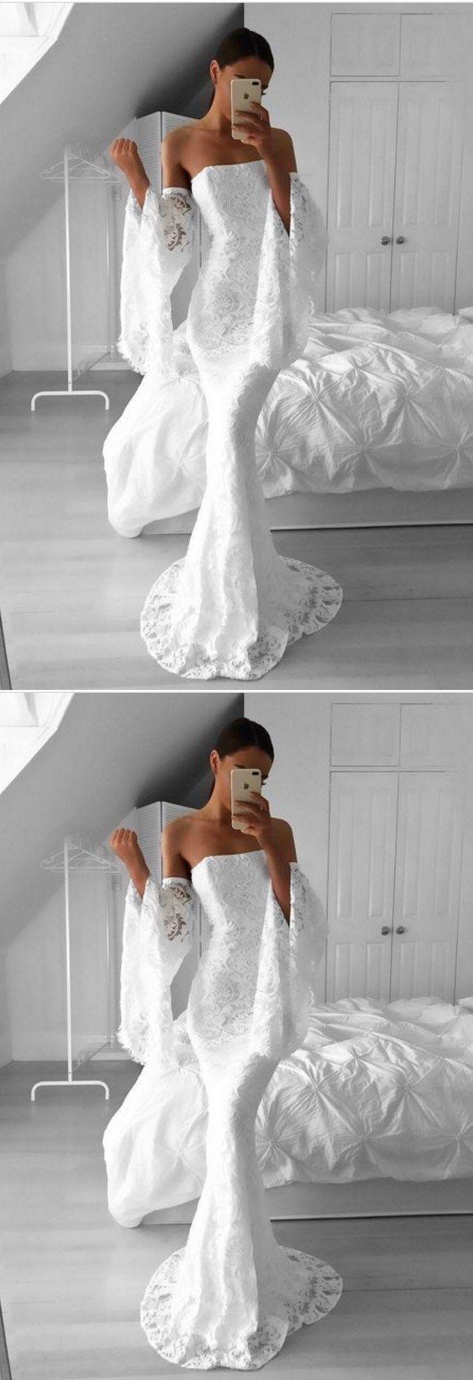 Lace white mermaid modest prom dress white dresses