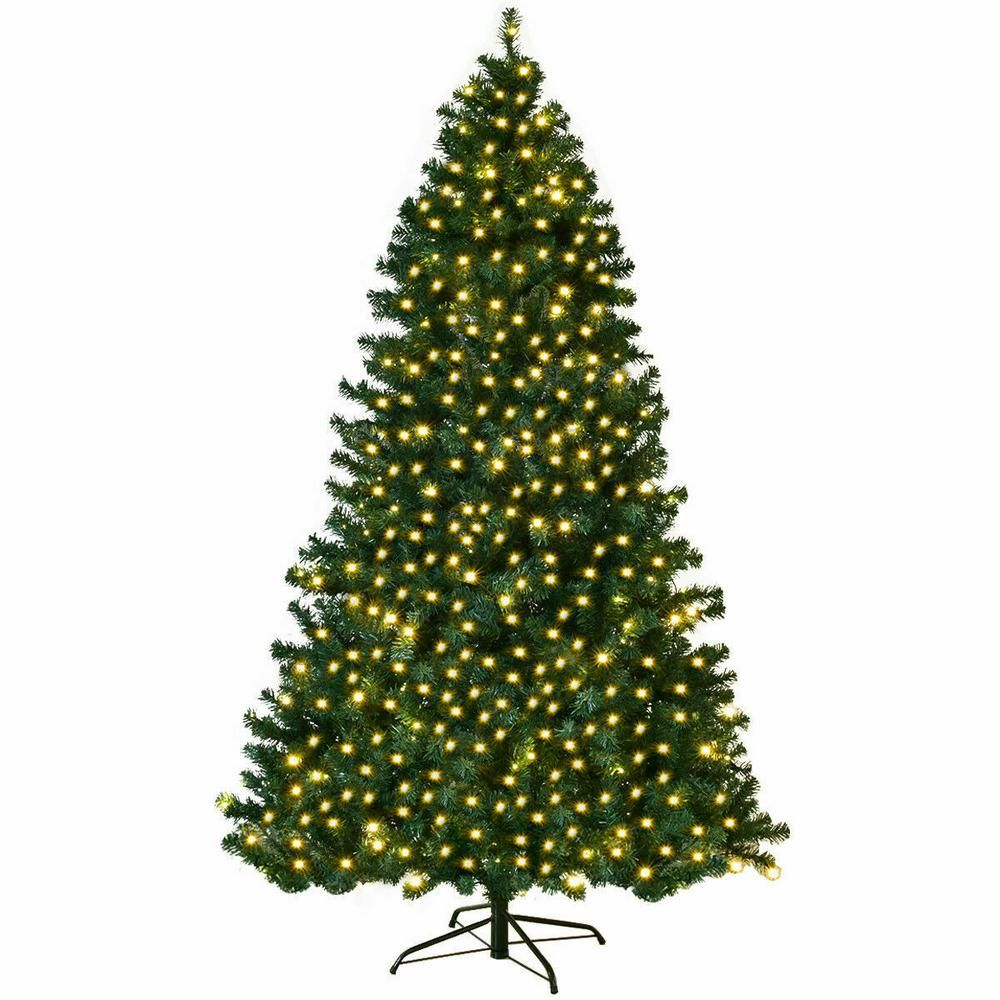 Costway 7 5 Ft Pre Lit Hinged Pvc Artificial Christmas Tree With 400 Led Lights And Stand Cm20639 The Home Depot Artificial Christmas Tree Stand Led Christmas Tree Lights Artificial Christmas Tree