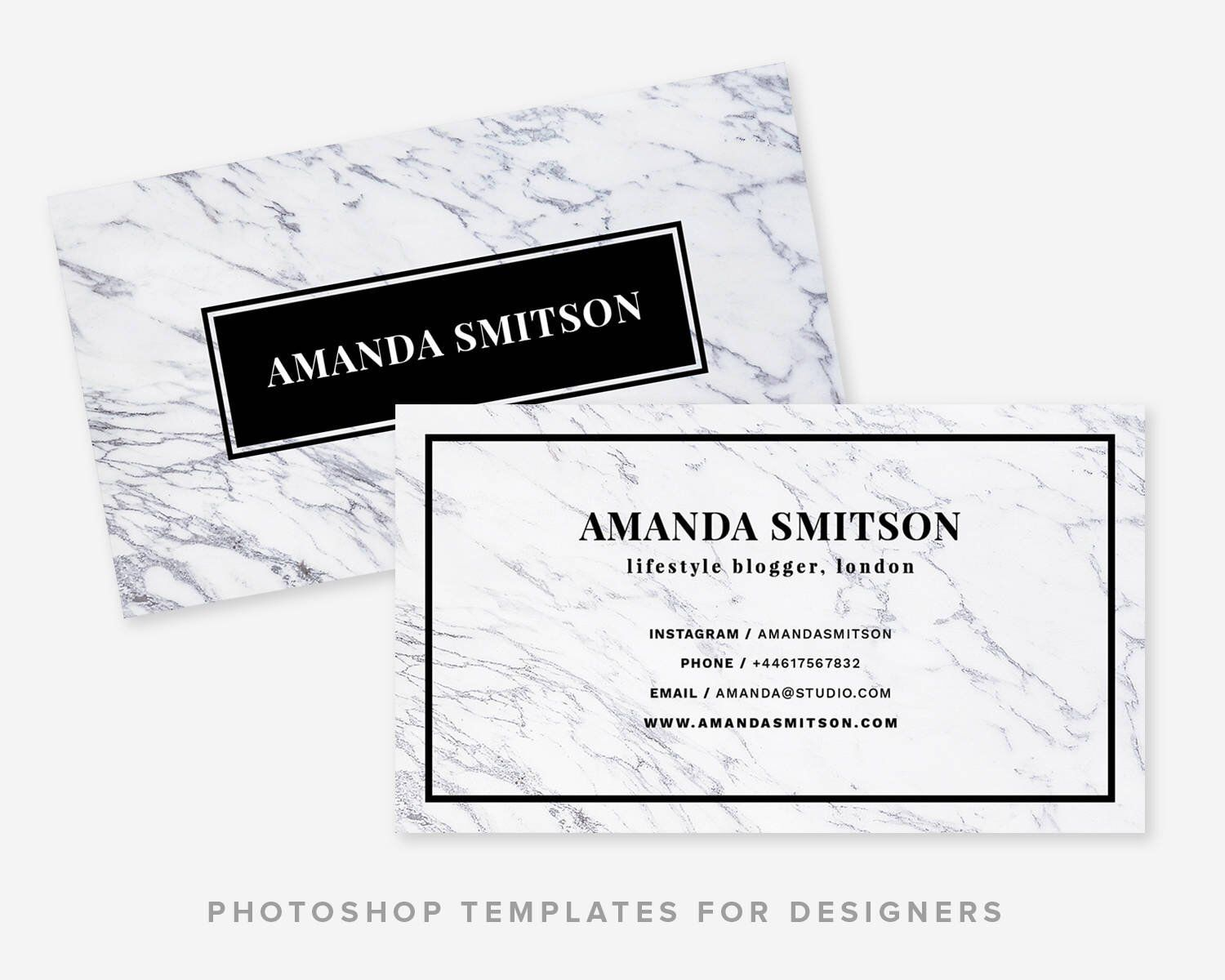 Business card template marble minimal business card