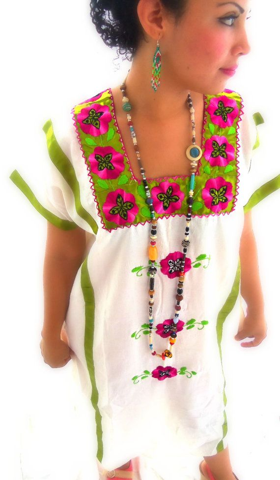 Eugenia Mexican Embroidered Huipil Maxi Dress by elizabethpalmer ...
