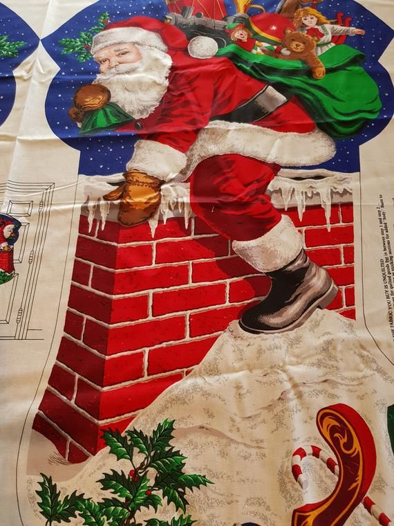 Here Comes Santa Claus Christmas Stocking Ornament Banner Cotton Fabric PANEL