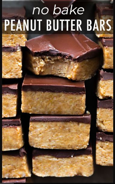 No-Bake Chocolate Peanut Butter Bars #desserts