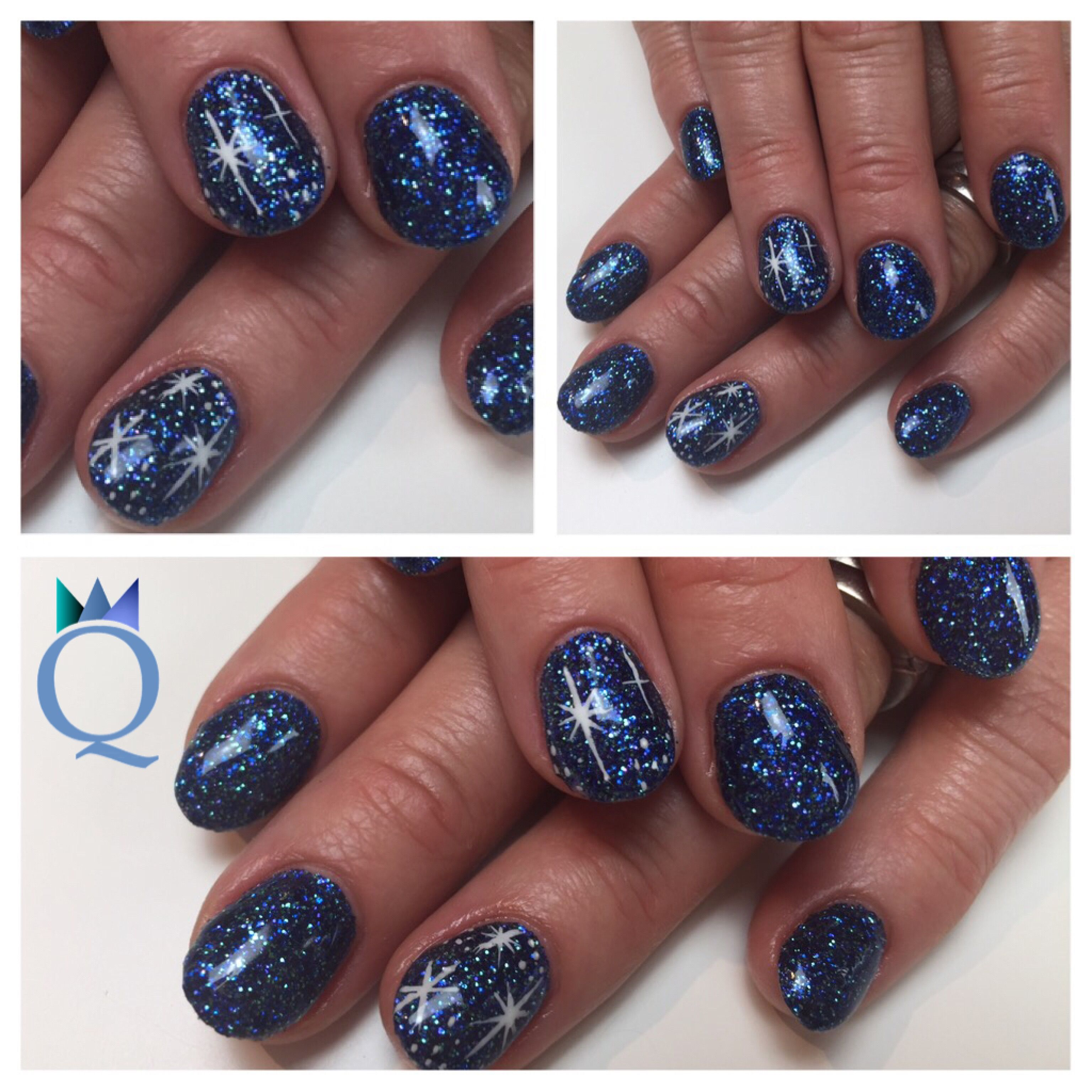 shortnails #acrylicnails #nails #blue #glitter #handpainted #stars ...