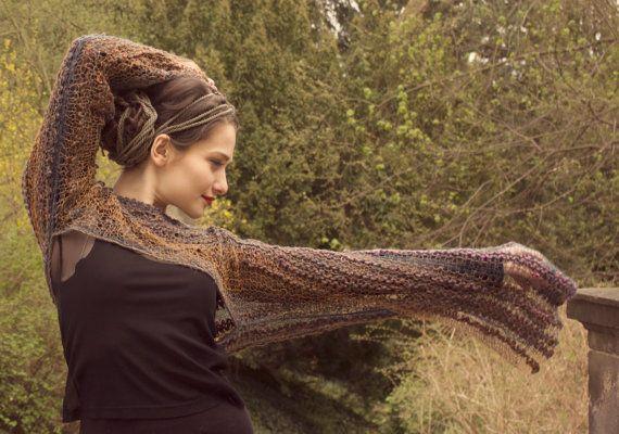boho sweater / cropped sweater / shrug sweater / winter sweater / long sleeve shrug / wool linen / multicolor / boho clothing on Etsy, £53.05