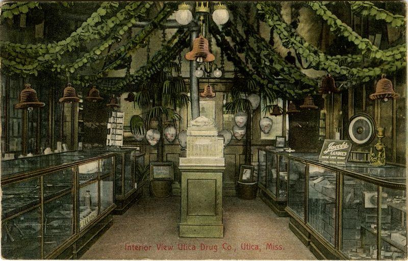 Cooper postcard collection interior view utica drug co