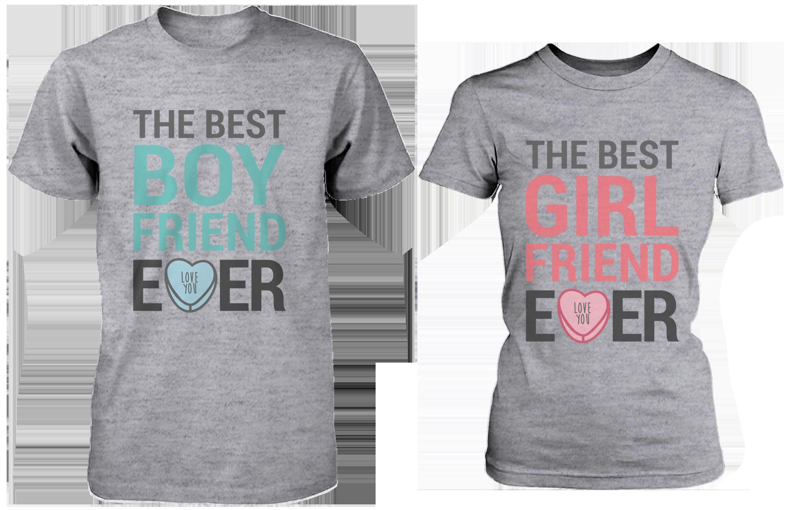 Couple t shirt design white - The Best Boyfriend Girlfriend Ever Matching Couple Shirts In Grey