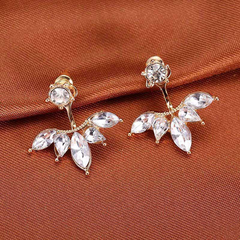 f5f56ead5 Zircon Crystal 3 Colors Rose Gold Ear Cuff Clip Leaf Stud Earrings For  Women Jacket Piercing Earrings Fine Jewelry