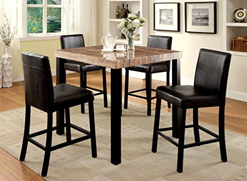 Amazon.com   Furniture Of America Bahia 5 Piece Contemporary Faux Marble  Top Pub Dining Set   Table U0026 Chair Sets