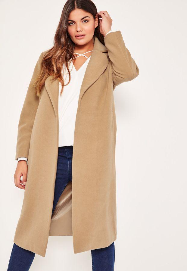 a96f11b8b7c63 Plus Size Camel Longline Faux Wool Duster Coat