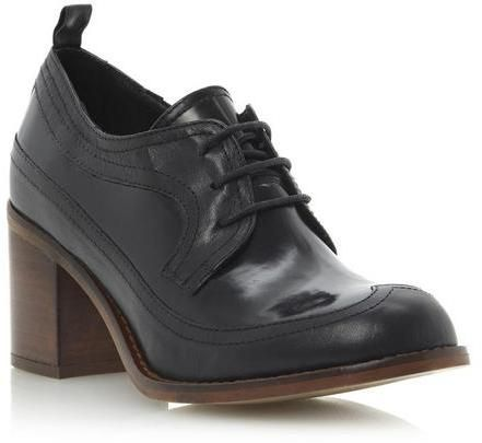 198500ec1a275 Bertie ASTOR - BLACK Lace Up Wingtip Block Heel Shoe on shopstyle.co ...