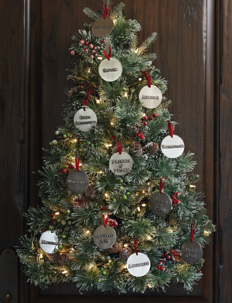 Handmade names of Christ ornaments are beautiful on a tree