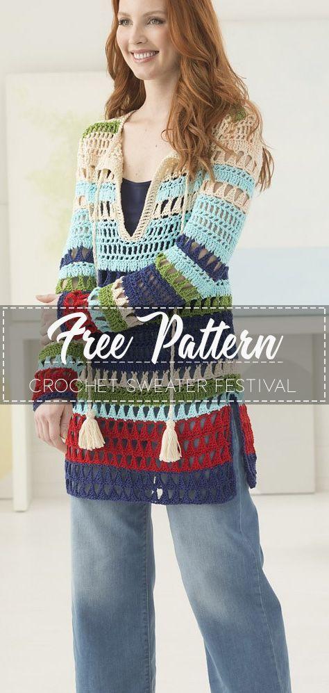 Häkeln Sie Pullover Festival Top - kostenlose Muster - Free Crochet Patterns #freepattern