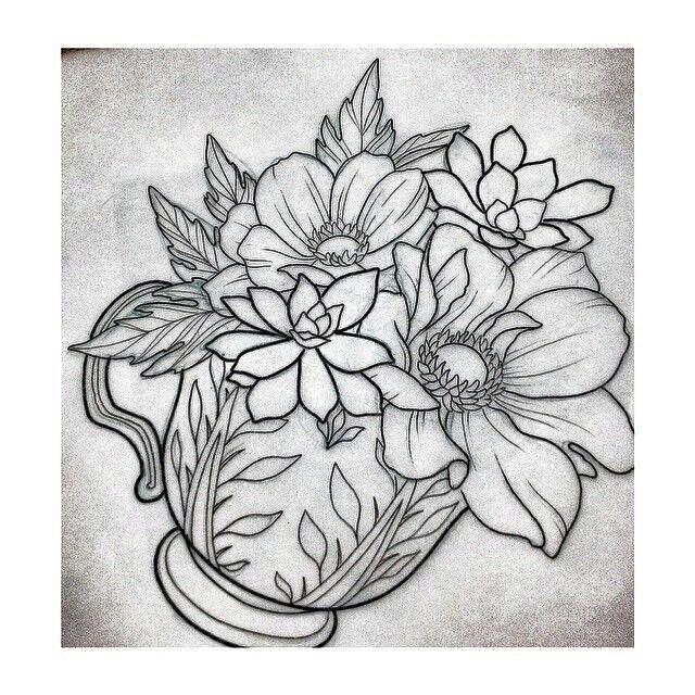Flowers in tea cup | Patrones De Bordado | Pinterest | Tatuajes ...