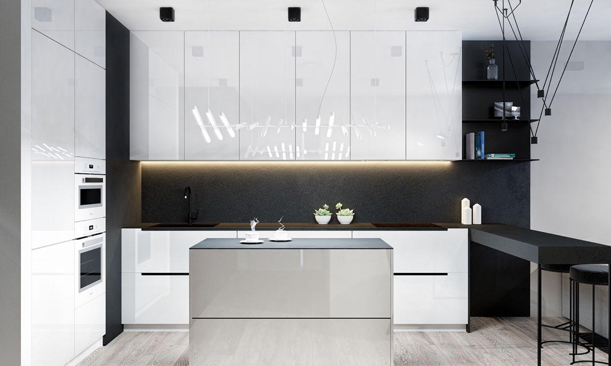 Kitchen / 4 Monochrome, Minimalist Spaces Creating Black And White Magic