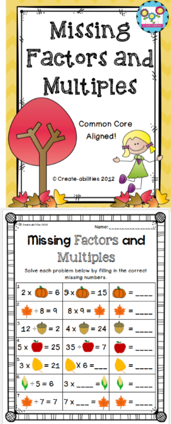Missing Factors and Multiples FREE Fourth grade math