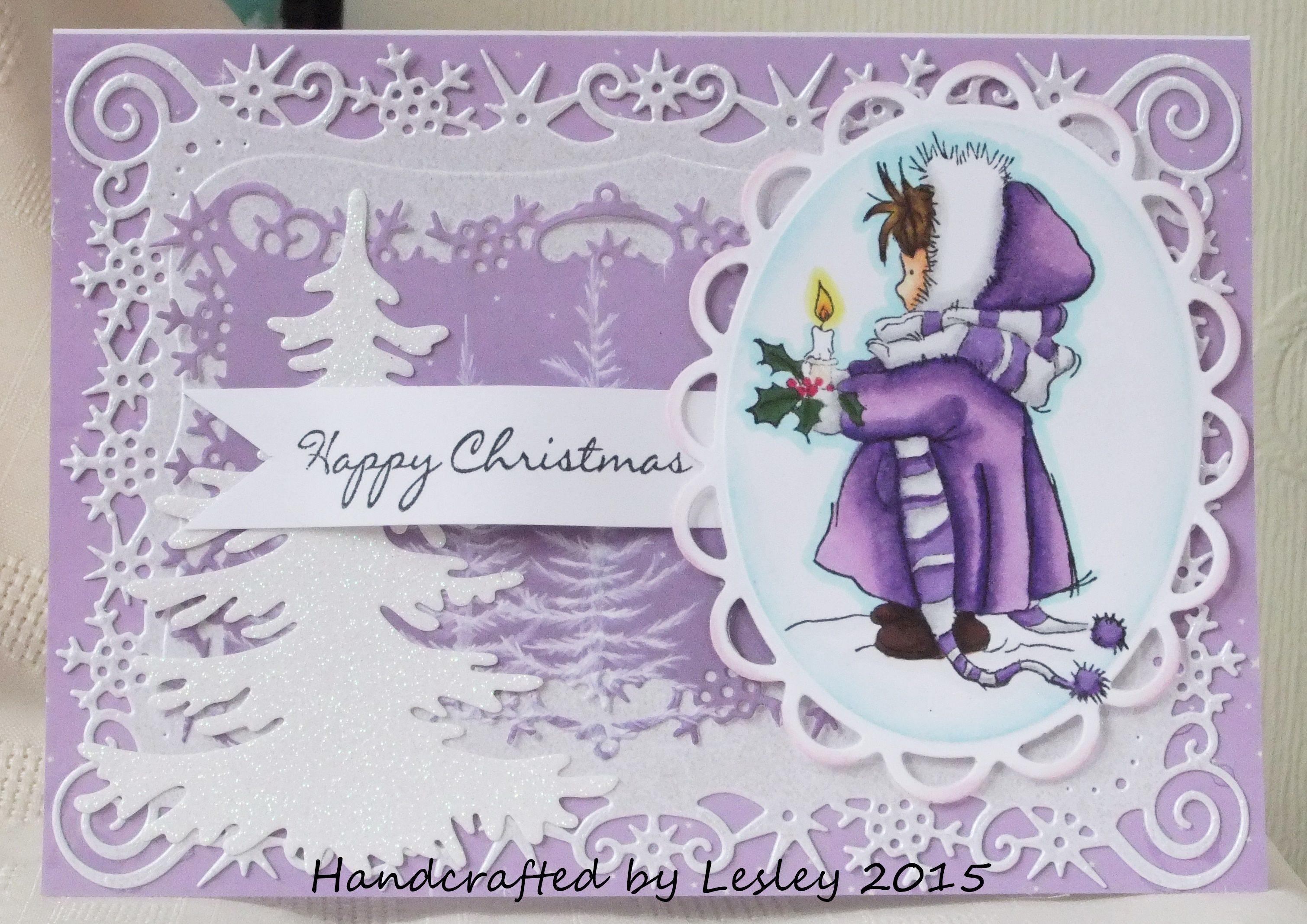 My first card for the Fantasy Stampers Design Team. I have used a LOTV stamp and coloured it with my Spectrum Noir pens and pencils. More details can be found at http://stampingbubbles.blogspot.co.uk/2015/08/some-exciting-news-and-colour-purple.html