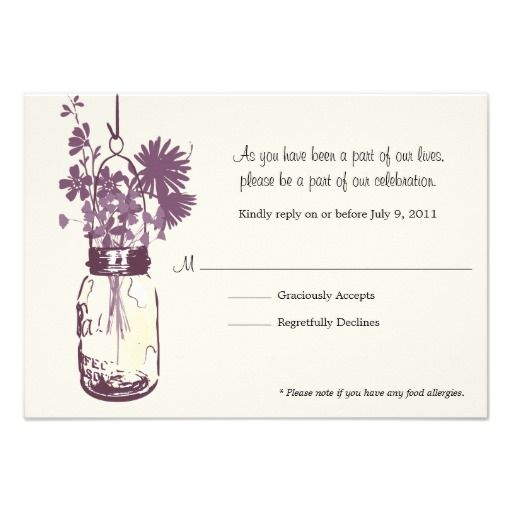 RSVP Card  Wild Flowers & Mason Jar Personalized Announcements