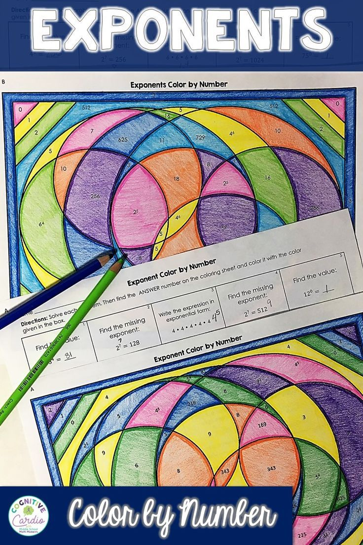 Exponents color by number math card games middle school