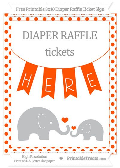 Free Orange Dotted Elephant 8x10 Diaper Raffle Ticket Sign Baby - free ticket printing