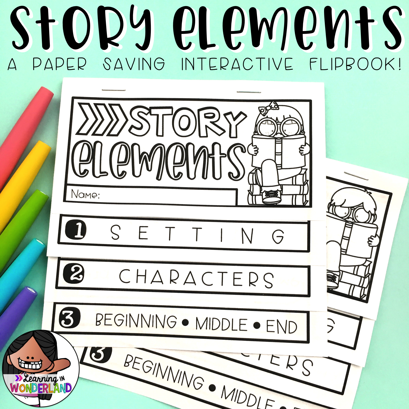 Story Elements Flip Book Two Sizes Included