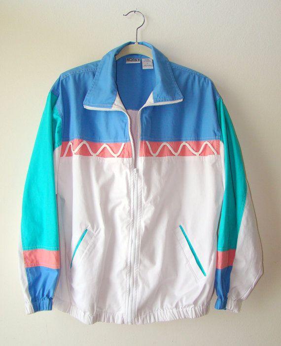 45497960c Vtg 80s Colorblock Jacket sz Large by DazedFox on Etsy, $35.00 ...