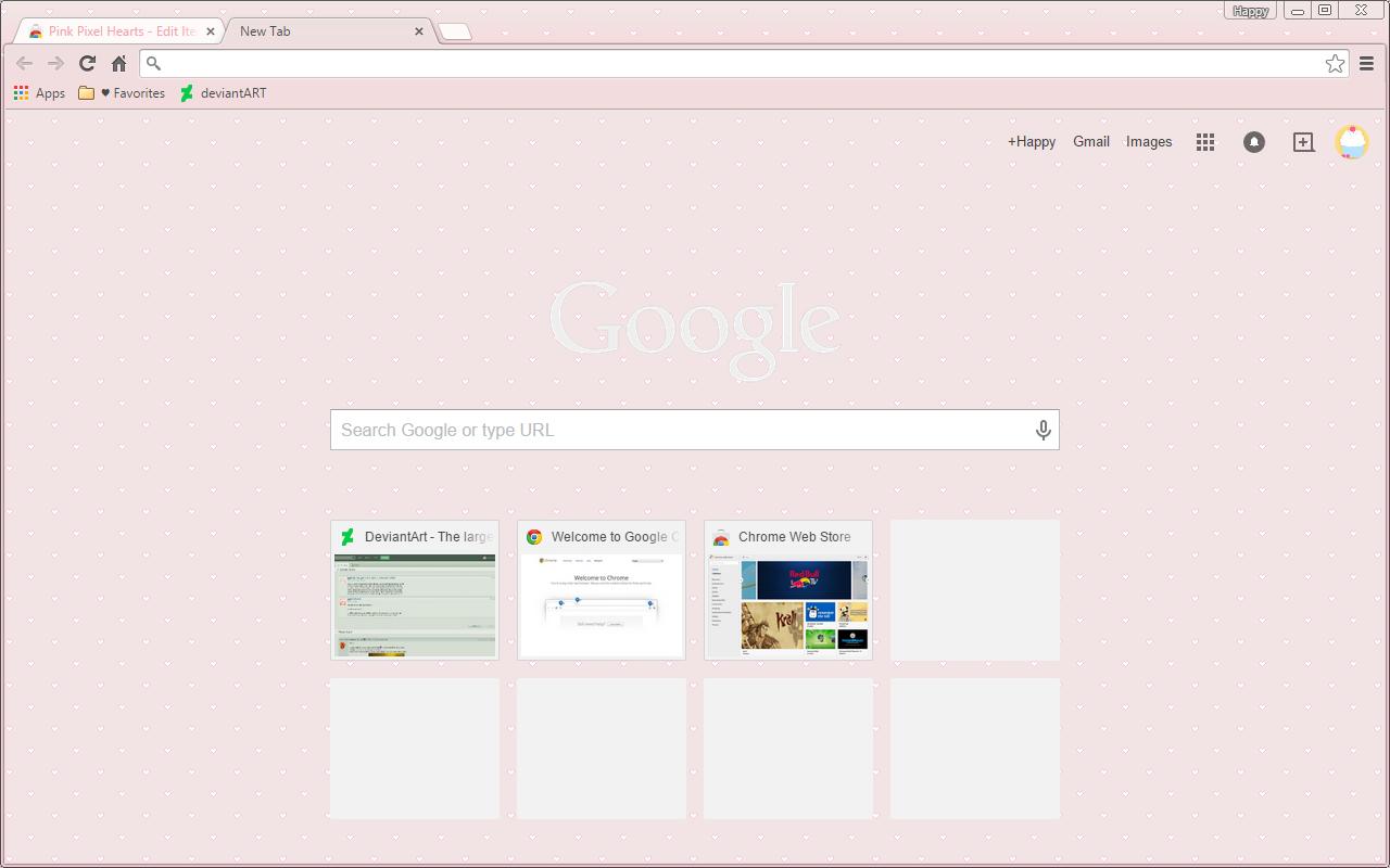 Google Chrome Theme - Pink Pixel Hearts by cupcakekitten20