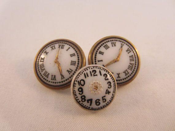 Vintage buttons. Unique white glass clocks.