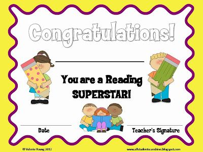 Reading Certificate Classroom freebies, Certificate and School - congratulations certificate