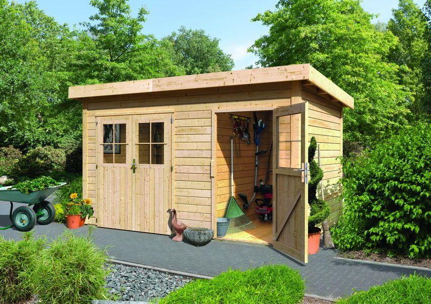Karibu Gartenhaus Sparset Rom 1 natur inkl. Dacheindeckung