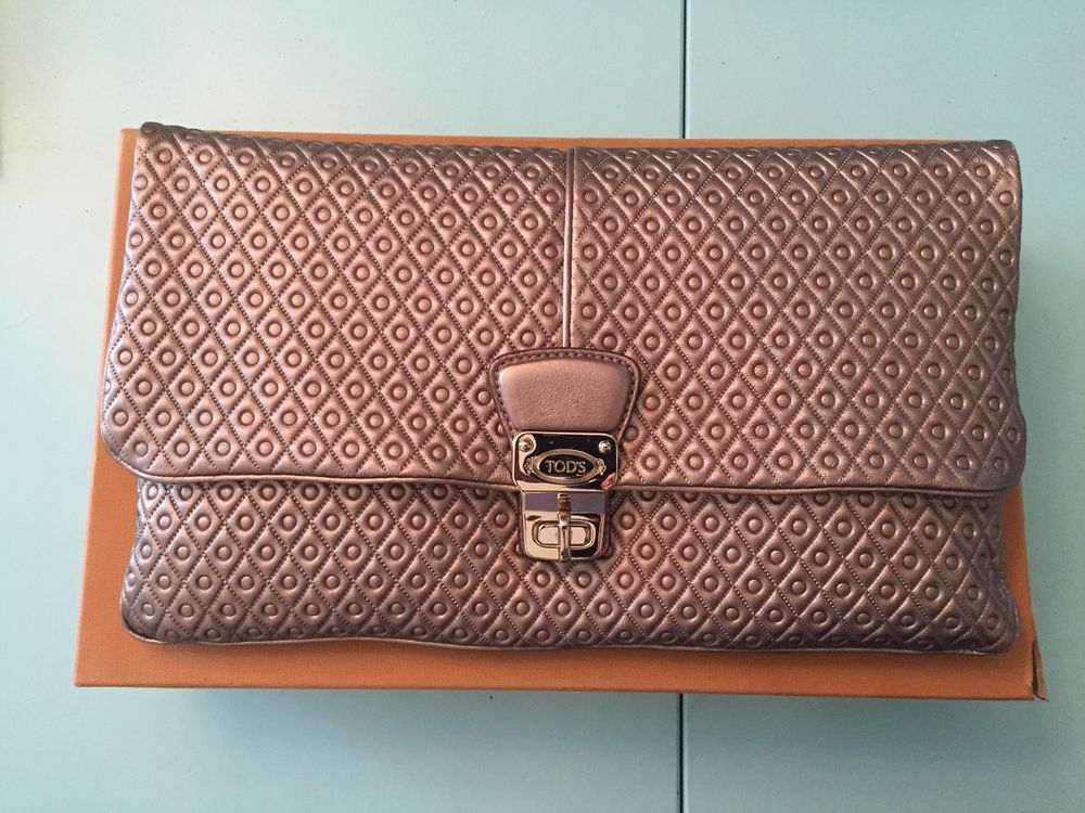 a8cb00fe85 Tod s Signature Embossed Quilted Leather Large Clutch Bag Purse ...
