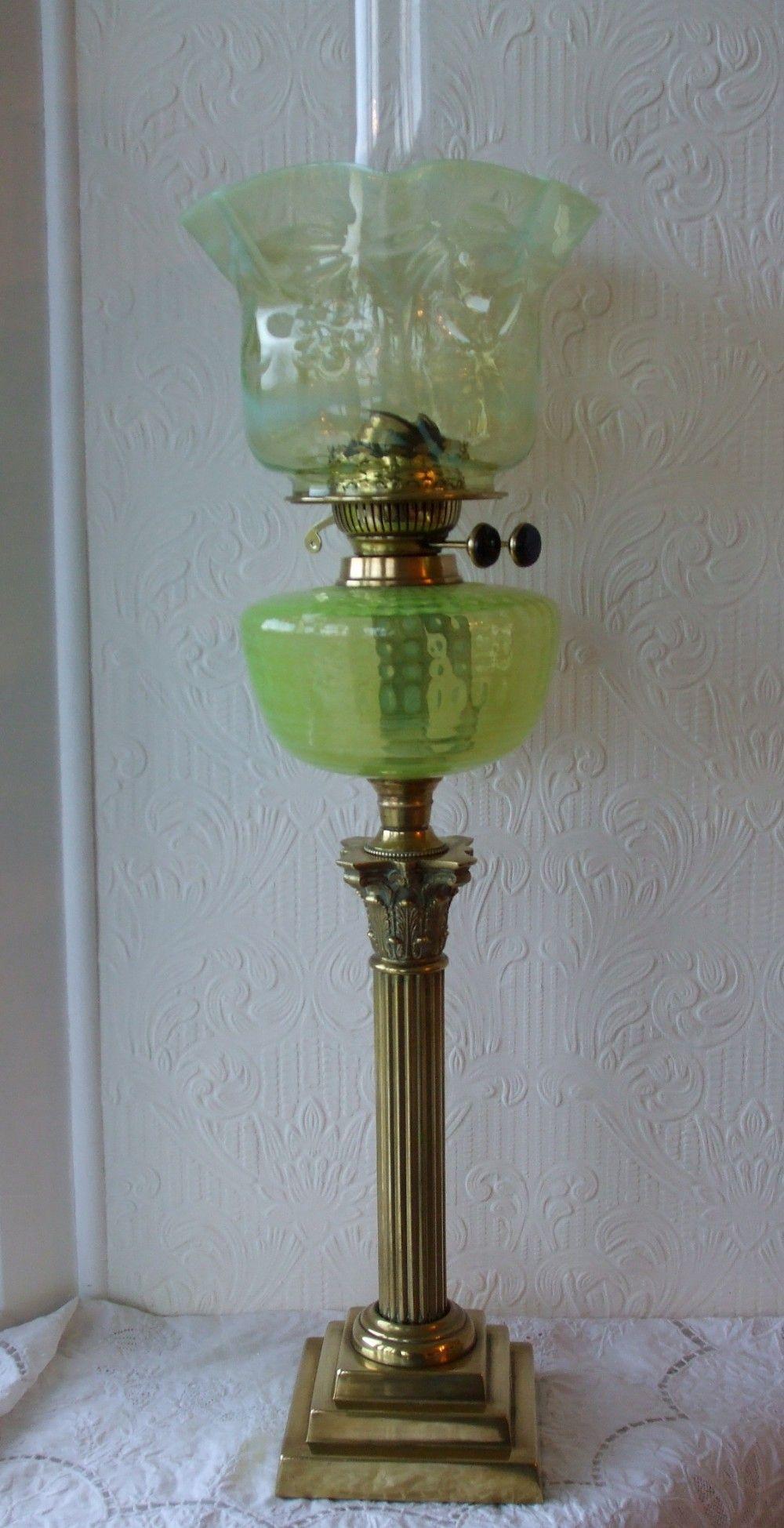 Antique English Victorian Vaseline Glass Oil Lamp