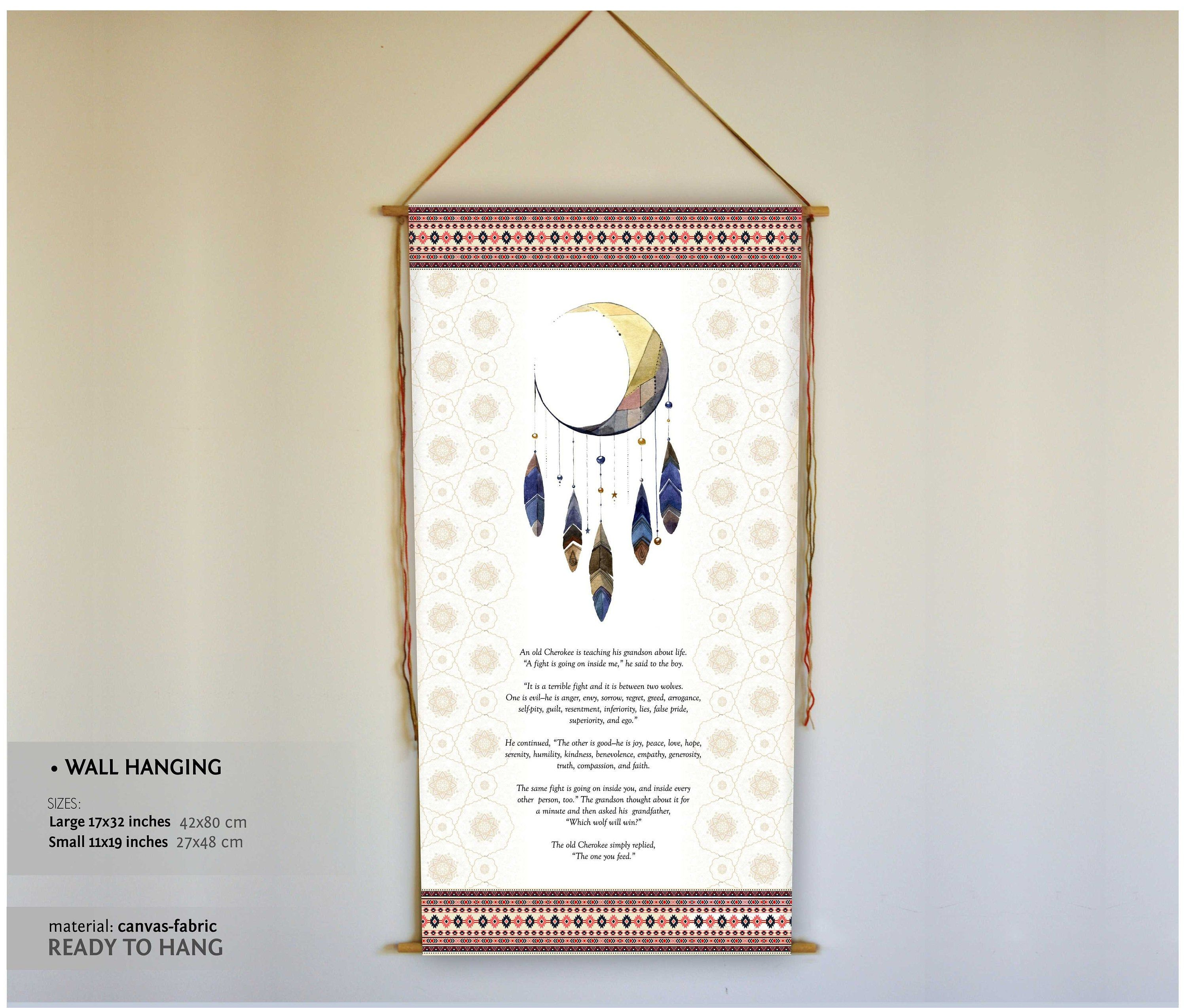 Two Wolves Native American Wall Hanging Inspirational Etsy Wall Hanging Dream Catcher Print Hanging