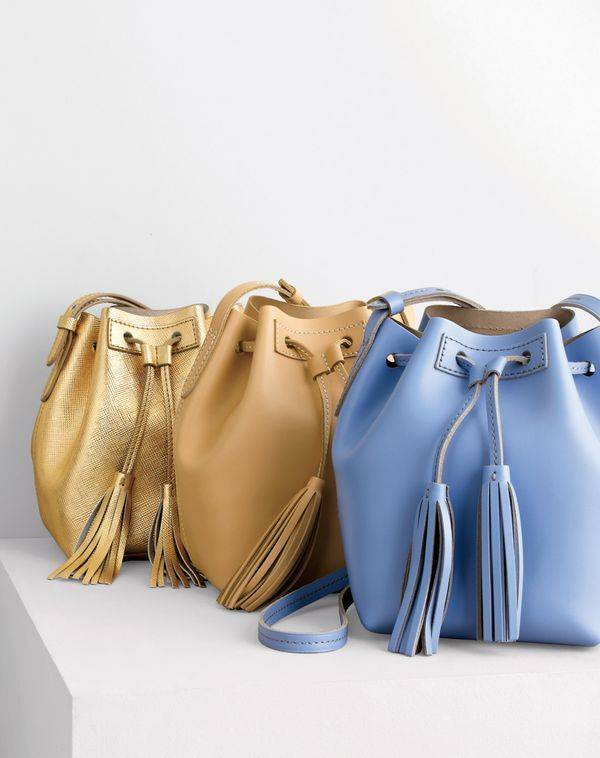 J Crew Women S Mini Bucket Bag In Metallic Leather And