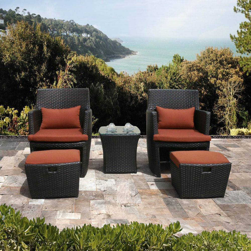 Bandio 5 Piece Resin Wicker Outdoor Furniture Set | Overstock.com Shopping    Big