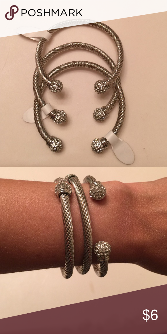 Today Sale! NWT Set of 3 Silver Bangles NWT Gorgeous Set of Bangles Jewelry Bracelets