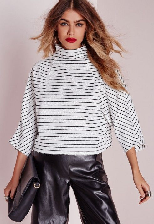 Missguided high neck striped kimono sleeve crop top white