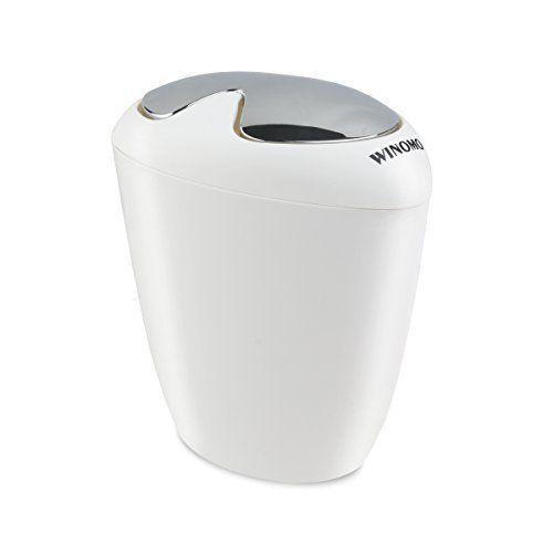 Winomo Trash Bin Trash Can Oval Trash With Swing Top Lip 1 75 Gallon 6 5 Liter Capacity For Bathroom And Office W Bathroom Trash Can Trash Can Swing Bins