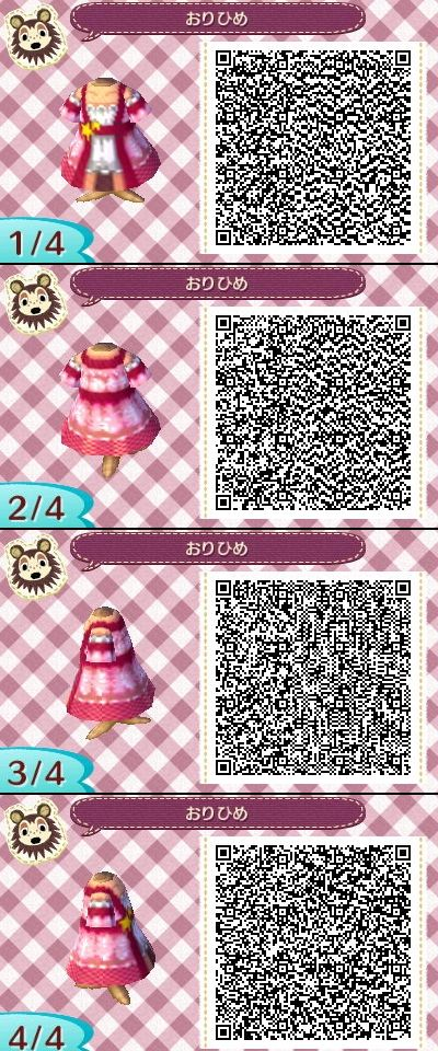 Animal Crossing New Leaf QR codes ありひめ pink dress | Outfit QR