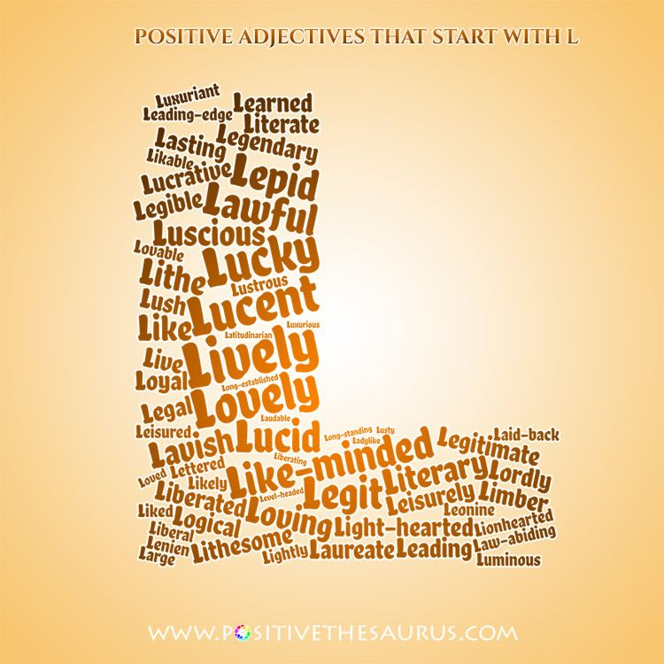 Lovely List Of Positive Adjectives Starting With L Wordcloud