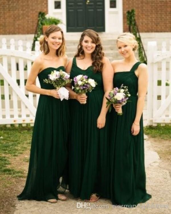 Dark Green Bridesmaids Gowns Vintage Cheap Price Formal