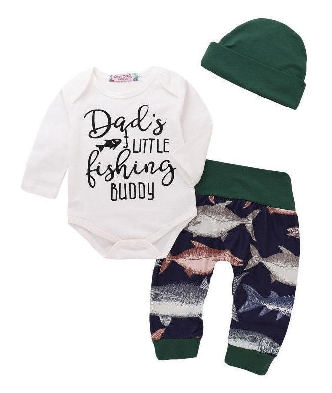 3pcs Newborn Baby Boys Little Man Long Sleeve Romper Camouflage Leggings and Hats Outfits Layette Sets