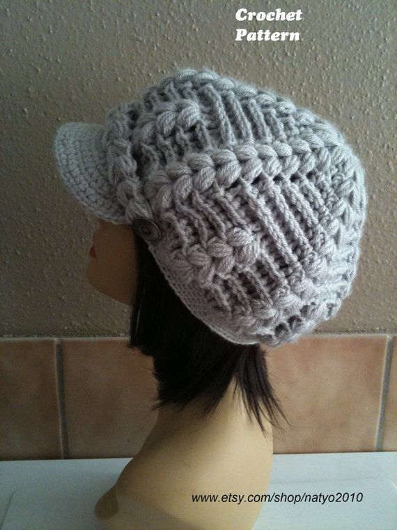 INSTANT DOWNLOAD Alberta Newsboy Chunky Crochet Hat Pattern With ...