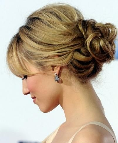 Hairstyles For Mother S Updo With Bangs Com Wp Content Uploads 2012 12 Loose Updo Hairstyle With Vo Hair Styles Short Hair Updo Mother Of The Bride Hair