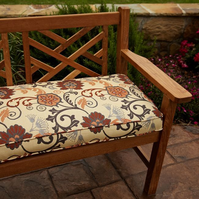 Embrace summer with this outdoor bench cushion Featuring a swirling