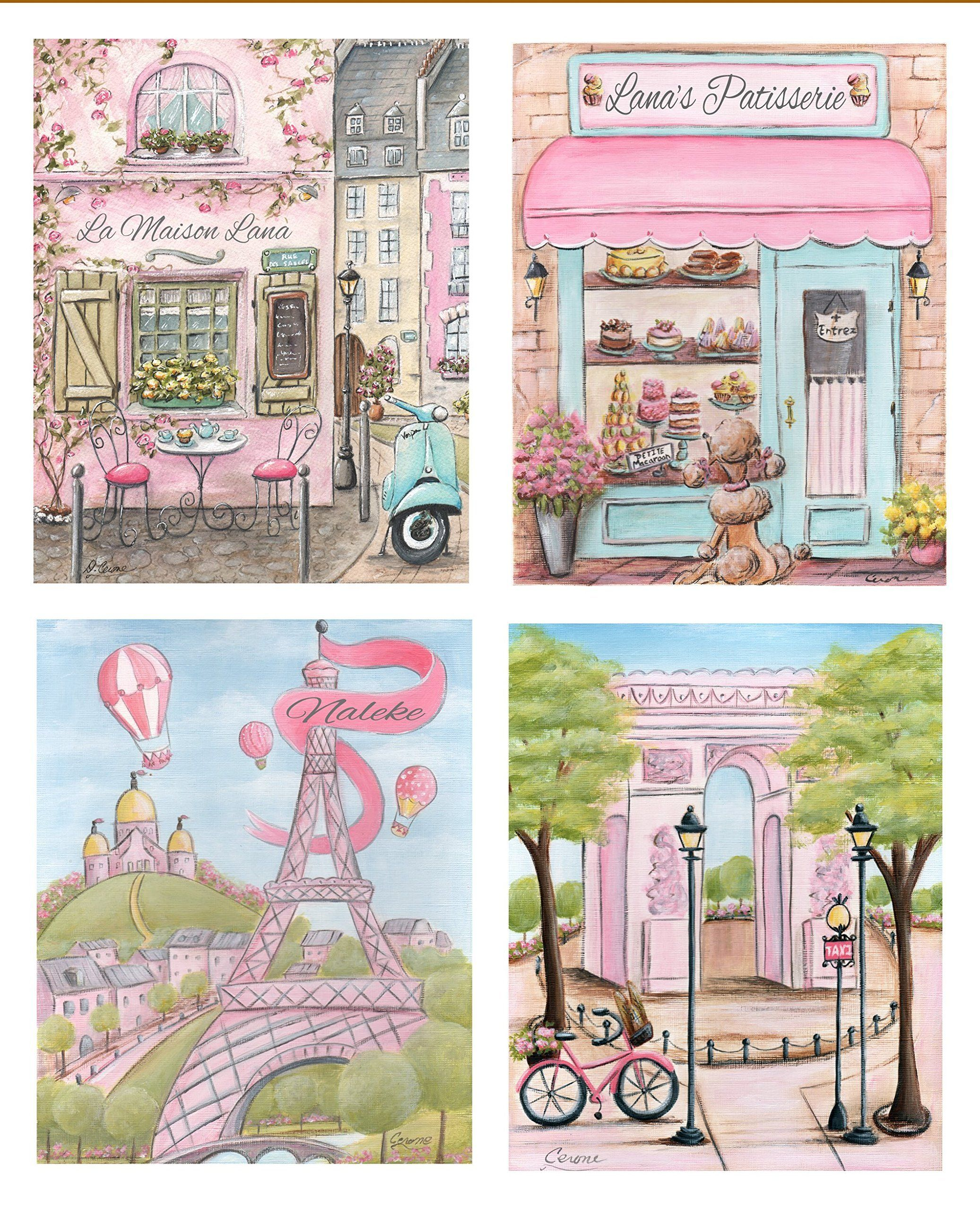 pink paris decor, personalized set of 4, unframed fine art prints