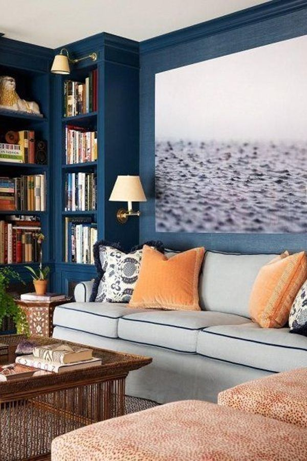 Orange and Navy Crush Living rooms, Room and Mid century