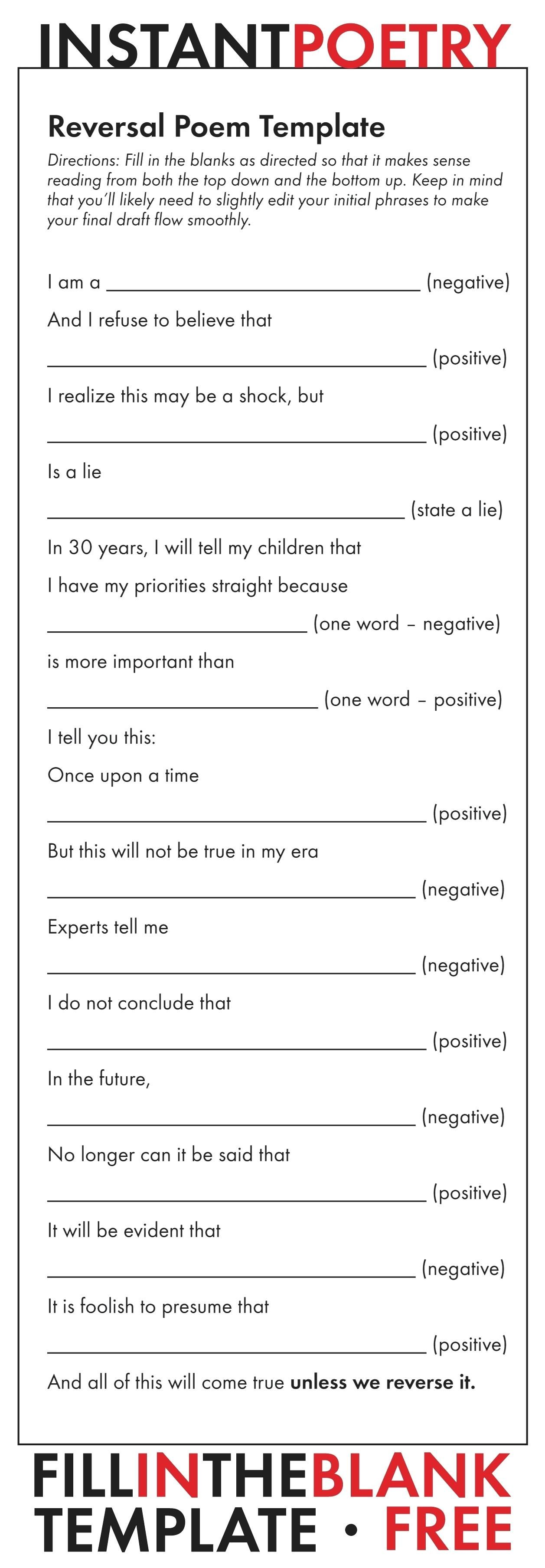 Poem Template Free And Easy Poetry Assignment Just Print