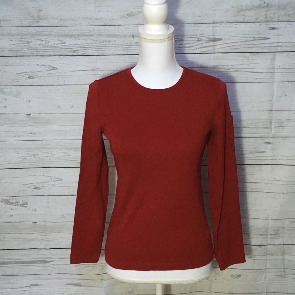 NWOT Lauren by Ralph Lauren RLR womens red cotton sweater top sz ...